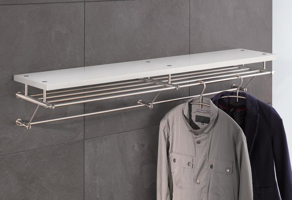 wandgarderoben aus edelstahl mit holz glas oder ohne f r schmale flure phos edelstahl design. Black Bedroom Furniture Sets. Home Design Ideas