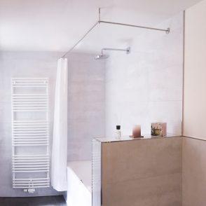 Duschvorhangstange ohne Bohren mit Klebetellern