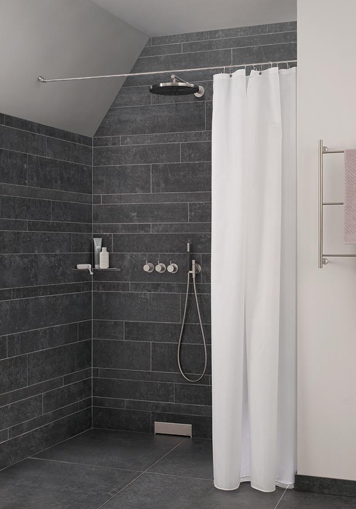 PHOS Design - Duschvorhangstange DSN12-DS - Montage an Dachschräge