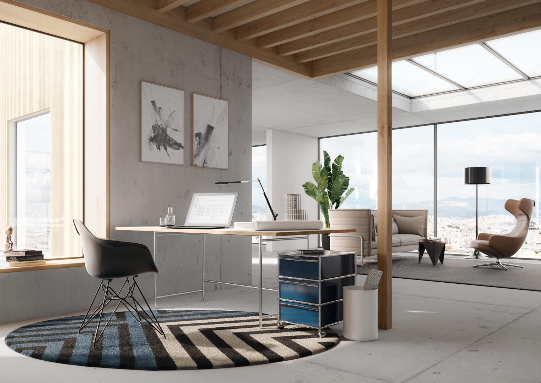 Karlsruher Tisch K1 als Bürotisch bzw. Homeoffice-Tisch mit großer Tischplatte