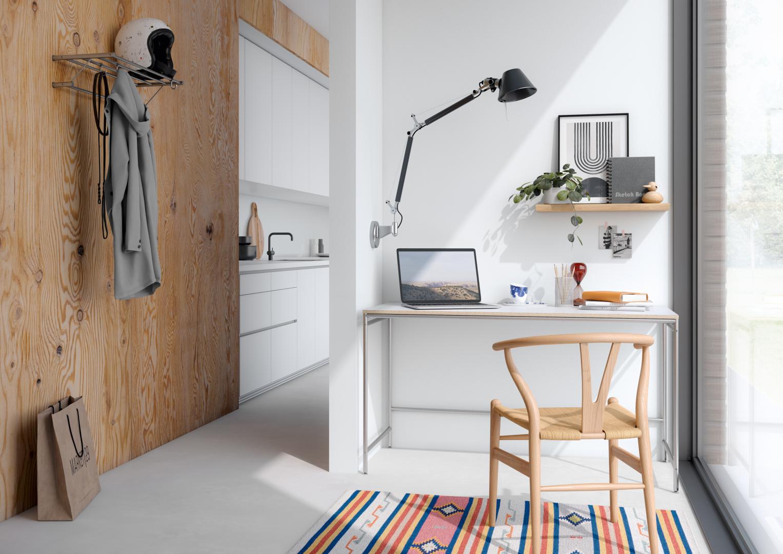Karlsruher Tisch K1 als Bürotisch bzw. Homeoffice-Tisch mit abschließender Tischplatte