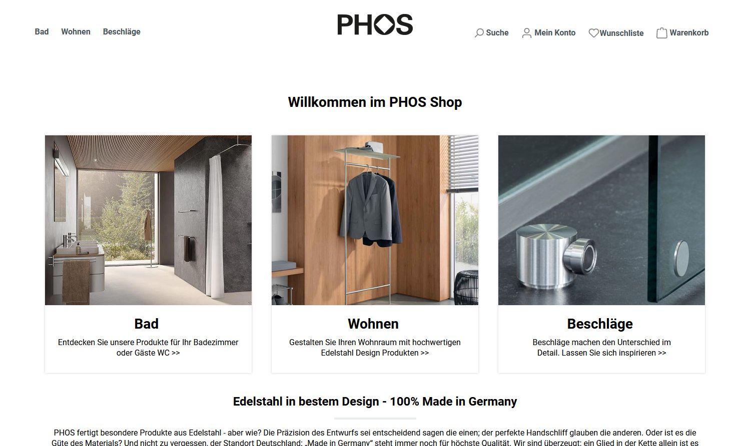 PHOS Design - Webshop Startseite
