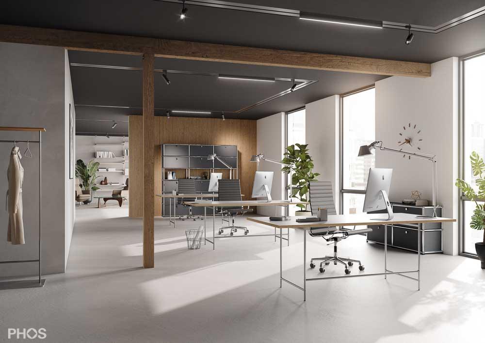 Karlsruher Schreibtisch S1 mit 200 x 90 cm Tischplatte (KATI-S1-200x90-MW)