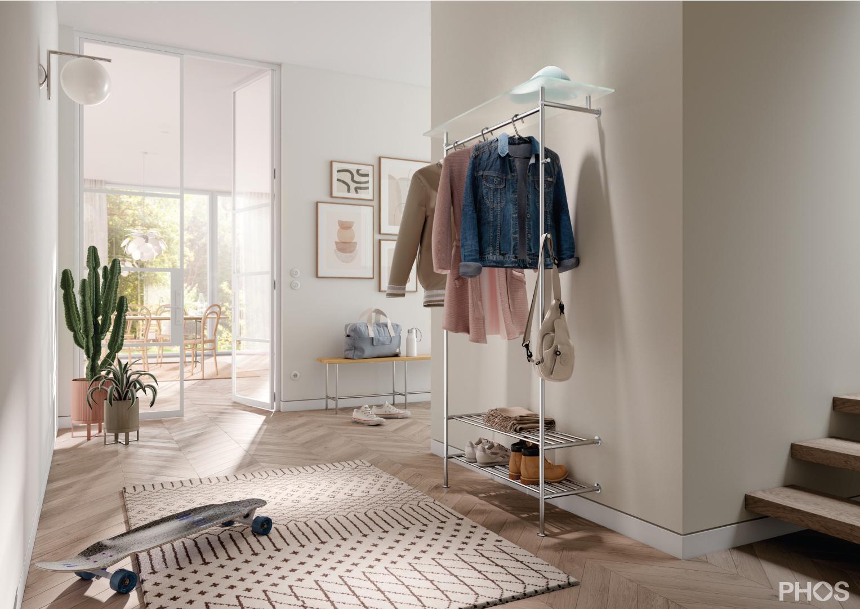 PHOS Design - Wandgarderobe mit Glasablage und integreitem Schuhregal GL2G-SR