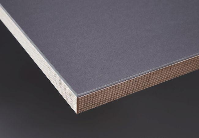 Linoleumbeschichtung Iron / anthrazit, mit Birken-Echtholz-Multiplex-Dekorkante