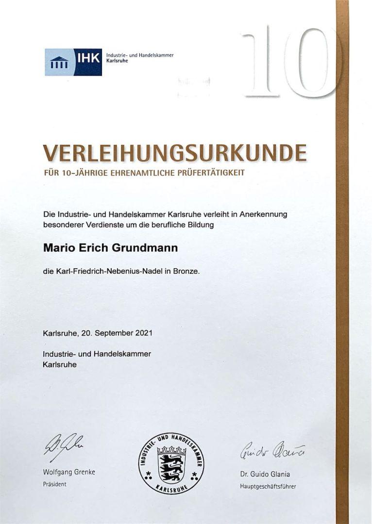 IHK Urkunde für Mario Erich Grundmann 2021